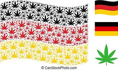 colagem, itens, waving, cannabis, bandeira, alemanha