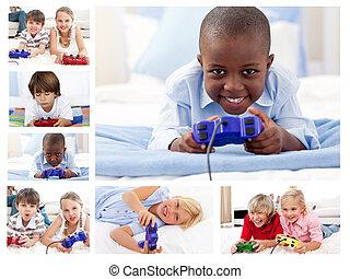 colagem, jogos video, tocando, crianças
