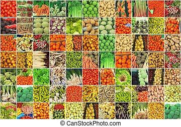 colagem, legumes