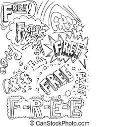 colagem, livre, palavras