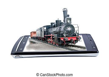 colagem, locomotiva, smartphone., exposição
