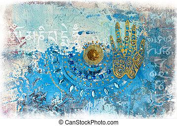 colagem, mão, artwork