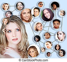 colagem, mídia, conceito, rede, social