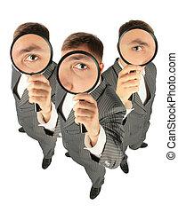 colagem, magnifiers, equipe negócio