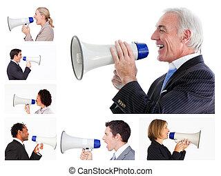colagem, megafone, gritando, pessoas negócio