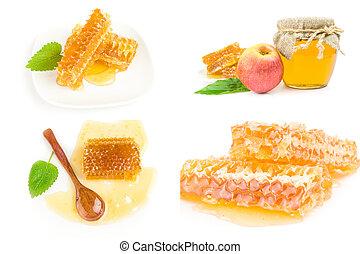 colagem, mel, fundo branco, doce