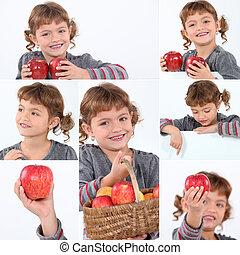 colagem, menina, maçãs, segurando