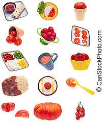 colagem, montagem, de, tomate, imagens