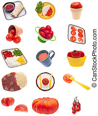 colagem, montagem, imagens, tomate