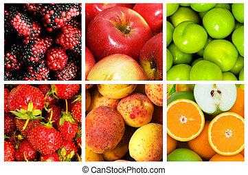 colagem, muitos, legumes, frutas