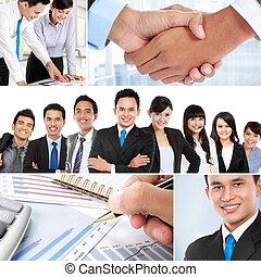 colagem, negócio asiático, pessoas