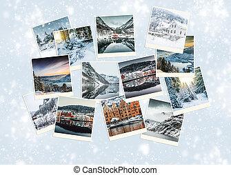 colagem, noruega, inverno, foto