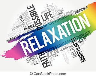 colagem, nuvem, relaxamento, palavra