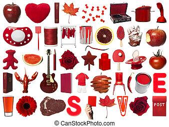 colagem, objetos, vermelho