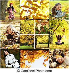 colagem, outono, mulher, parque