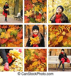 colagem, outono, mulheres