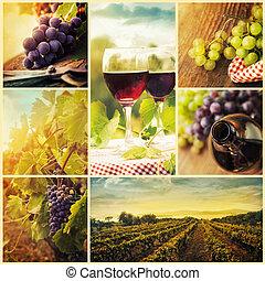 colagem, país, vinho