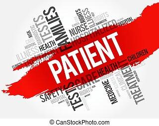 colagem, paciente, palavra, nuvem
