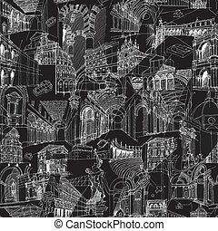 colagem, padrão, seamless, histórico, arquitetura, italiano