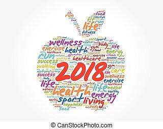 colagem, palavra, 2018, nuvem, maçã