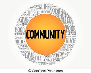colagem, palavra, comunidade, nuvem