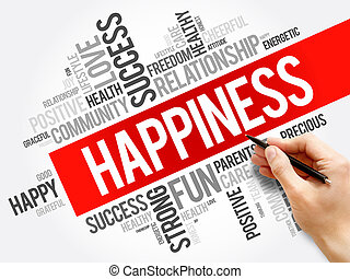 colagem, palavra, felicidade, nuvem