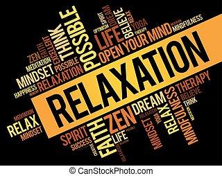 colagem, palavra, nuvem, relaxamento