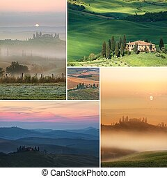 colagem, panorâmico, típico, tuscany, vista