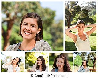 colagem, parque, mulheres jovens