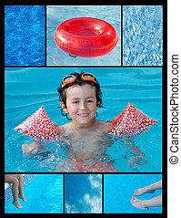 colagem, piscina, criança