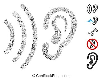 colagem, porão, escutar, ícone