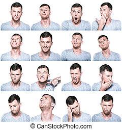 colagem, positivo, expressões, negativo, rosto