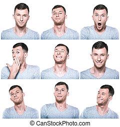 colagem, positivo, expressões, rosto