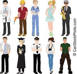colagem, profissional, trabalhadores