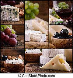 colagem, queijo, vinho