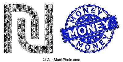 colagem, redondo, fractal, shekel, dinheiro, ícone, angústia, selo, selo