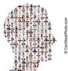 colagem, rosto, conceito, pessoas humanas