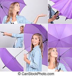 colagem, roxo, menina, guarda-chuva, bonito
