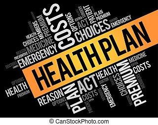 colagem, saúde, palavra, plano, nuvem