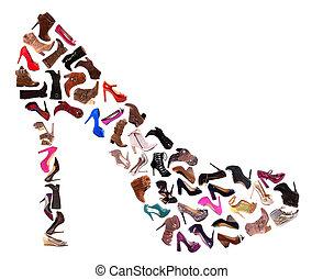 colagem, sapatos senhoras