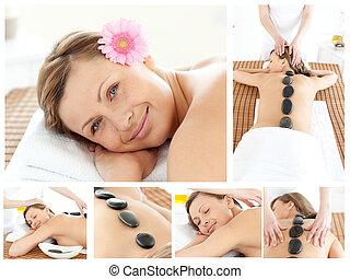 colagem, sendo, menina, jovem, massaged