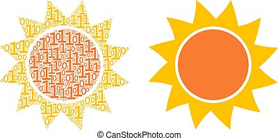 colagem, sol, dígitos, binário