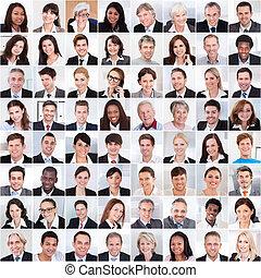 colagem, sorrindo, pessoas negócio