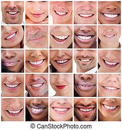 colagem, sorrisos, branca