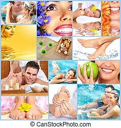 colagem, spa, massagem, experiência.
