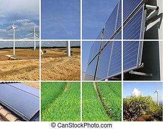 colagem, sustentável, energia