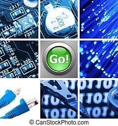 colagem, tecnologia computador