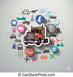 colagem, transporte, fundo, ícones