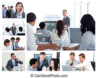 colagem, usando, tecnologia, pessoas negócio