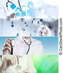 colagem, vário, conceito médico, modernos